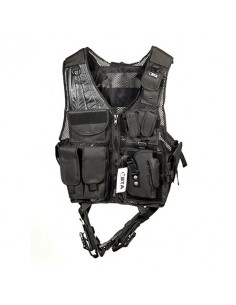 Gilet Tattico Cordura Nera 12 Tasche